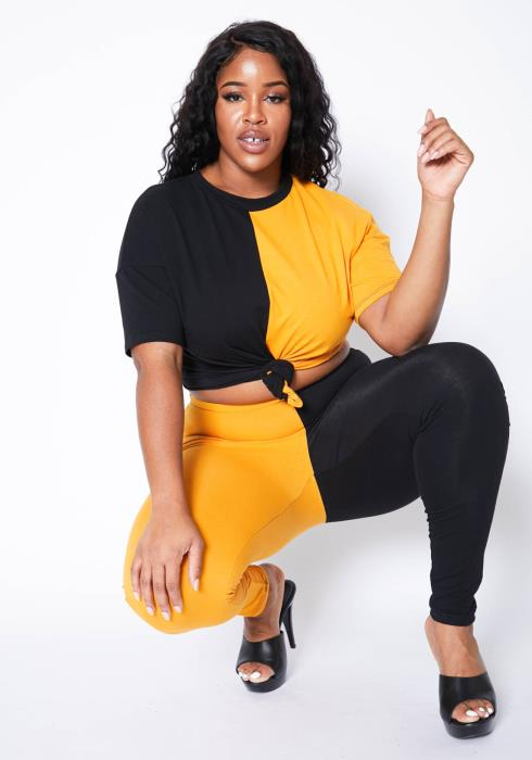 Asoph Plus Size Color Splice Crew Neck Tee Shirt & Leggings Set