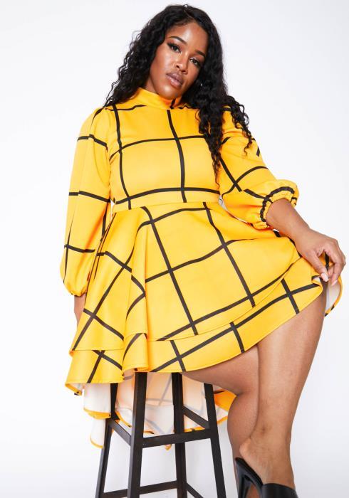 Asoph Plus Size Grid Plaid Womens High Low Flare Dress