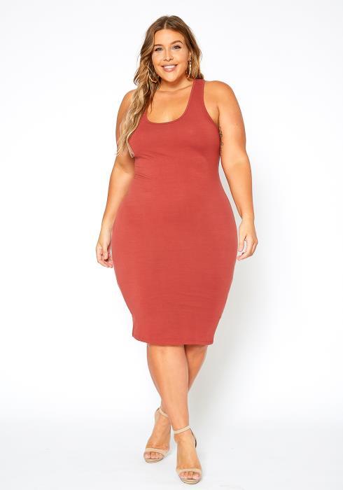 Asoph Plus Size Everyday Basic Tank Midi Dress