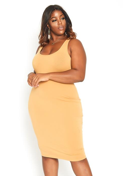Asoph Plus Size Everyday Basic Tank Midi Dress