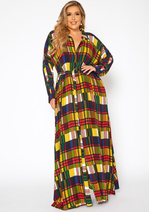 Asoph Plus Size Tartan Plaid Womens Collar Maxi Dress