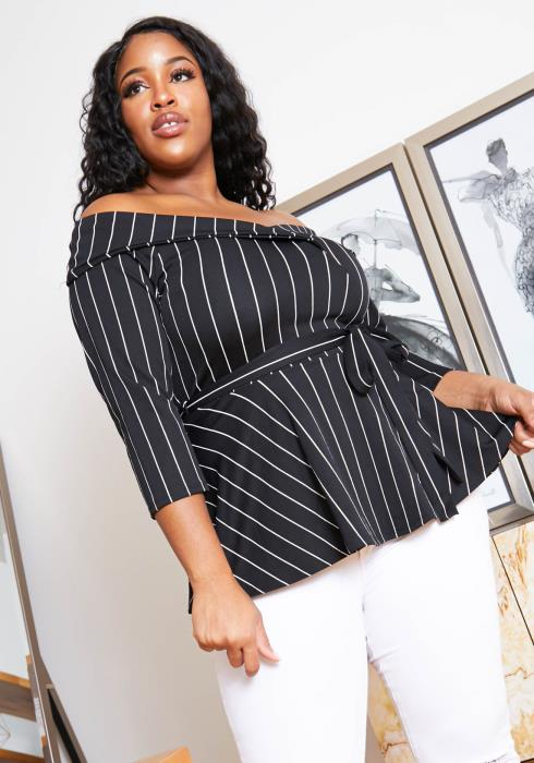 Asoph Plus Size Pinstripe Womens Off Shoulder Tie Blouse