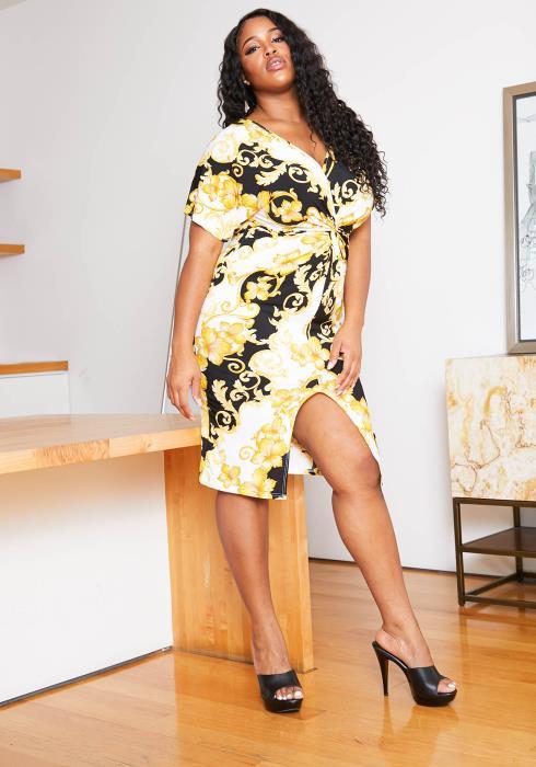 Asoph Plus Size Womens Royal Sundrop Patterned Bodycon Dress