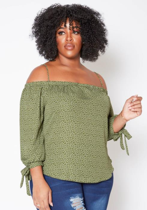 Asoph Plus Size Strappy Off Shoulder Leafy Pattern Top