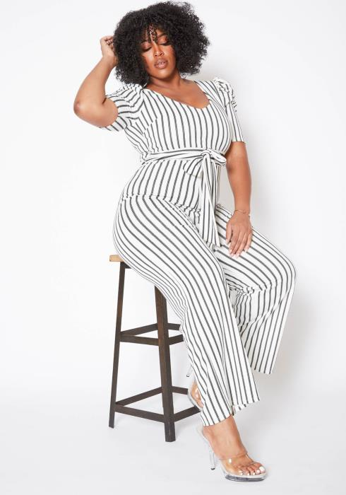 Asoph Plus Size Pin Striped Womens Flare Jumpsuit