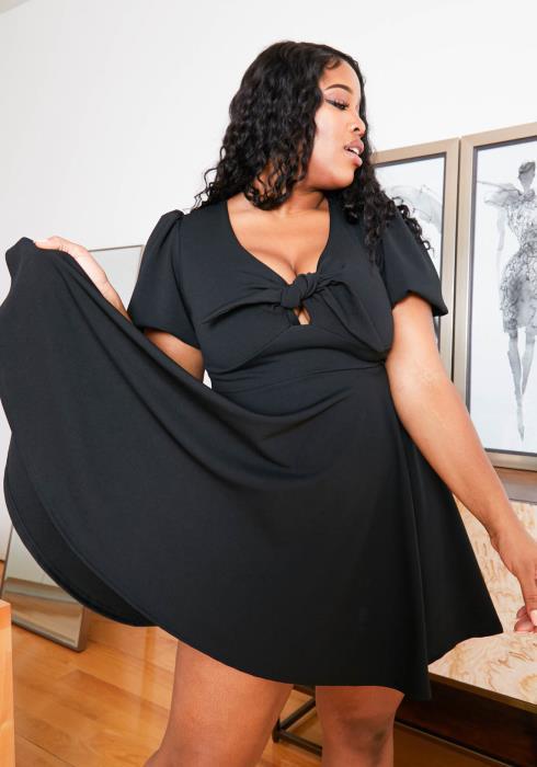 Asoph Plus Size Front Tie Womens Fit & Flare Mini Dress