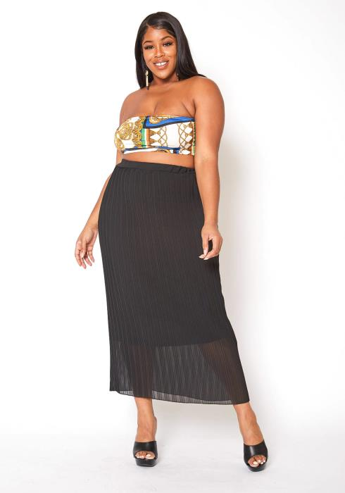 Asoph Plus Size High Rise Pleated Maxi Skirt