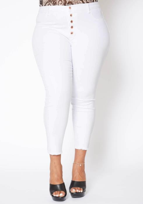 Asoph Plus Size Womens High Waisted White Denim Jeans