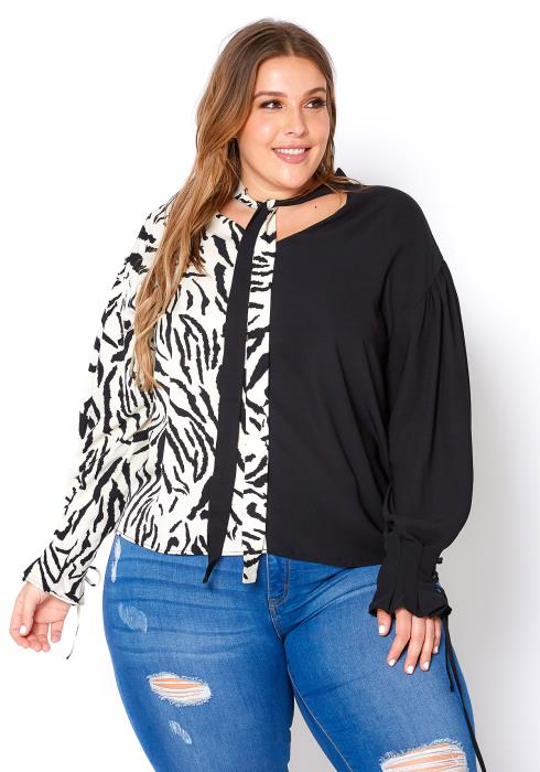 Asoph Plus Size Zebra Print Splice Collar Tie Blouse