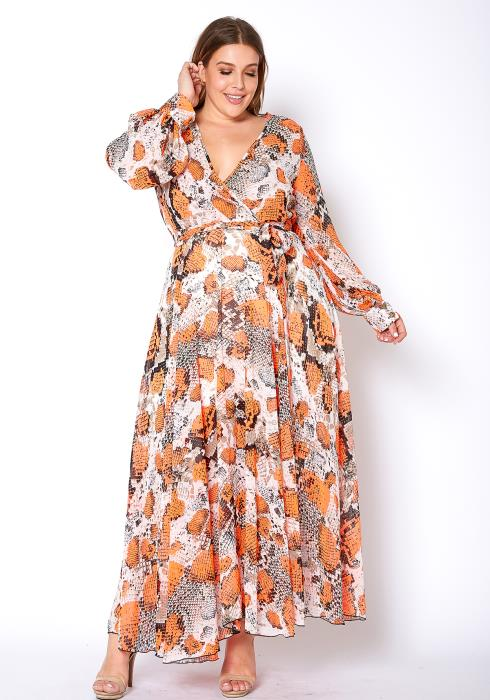 Asoph Plus Size Orange Snakeskin Womens Chiffon Maxi Dress