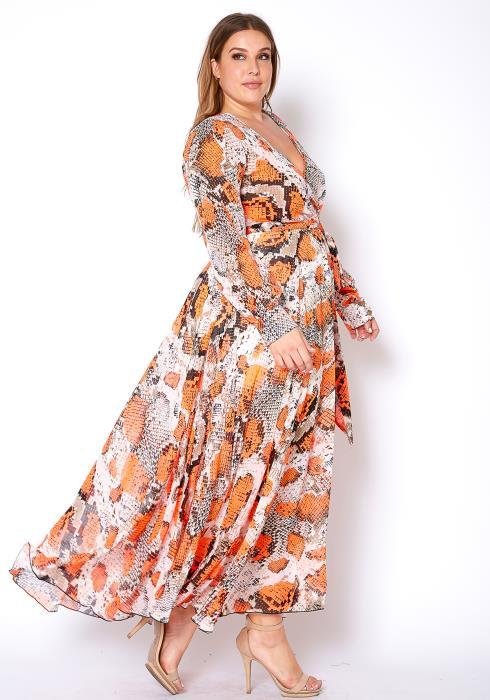 Asoph Plus Size Orange Snakeskin Womens Chiffon Maxi Dress