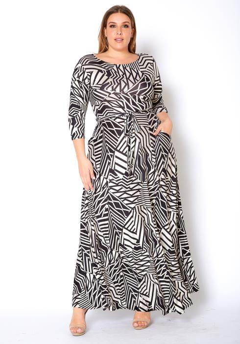 Asoph Plus Size Geo Print Womens Maxi Dress