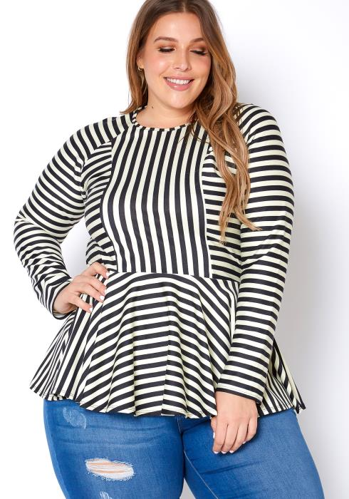 Asoph Plus Size Womens Striped Long Sleeve Peplum Top