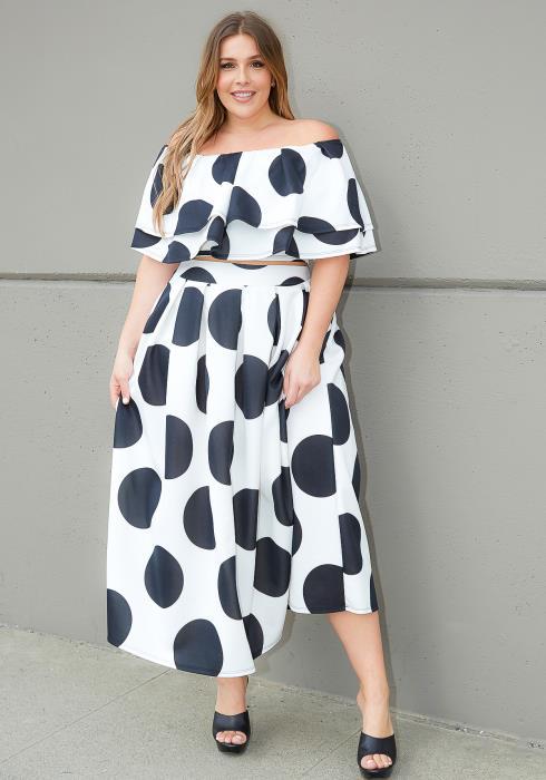 Asoph Plus Size 80s Polka Dot Crop Top & Maxi Skirt Set