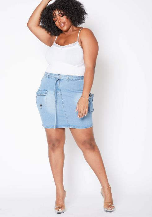 Asoph Plus Size Light Blue Washed Cargo Denim Mini Skirt