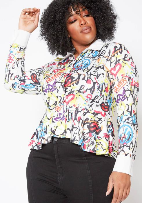 Asoph Plus Size Womens Graffiti Peplum Collar Top