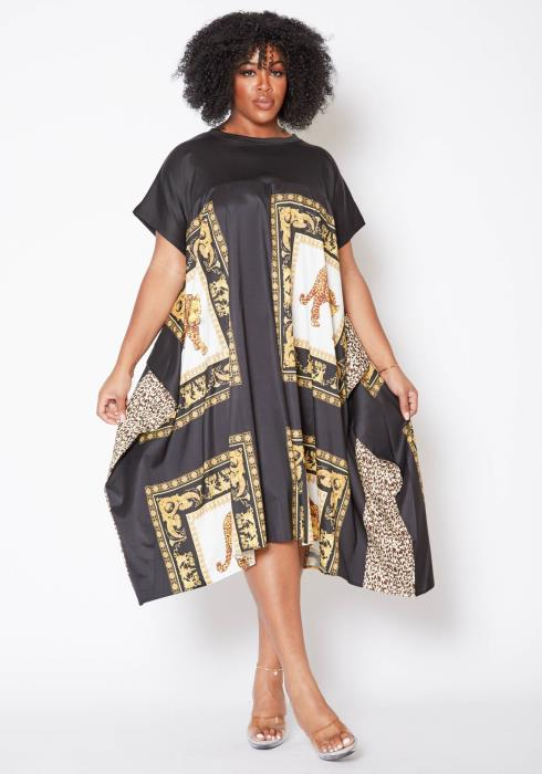 Asoph Plus Size Royal Kingdom Womens Tee Midi Dress