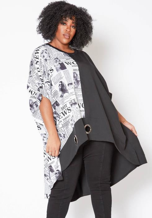 Asoph Plus Size Split Newspaper High Low Blouse