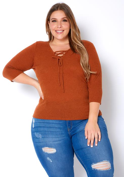 Asoph Plus Size Cross Laced Womens Simple Ribbed Top