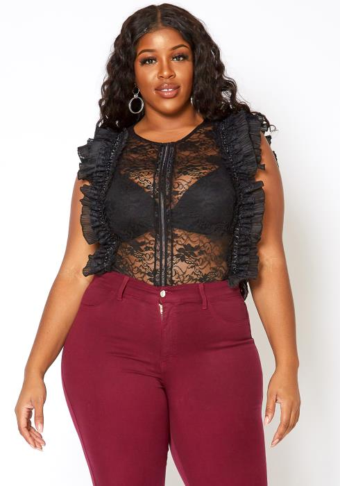 Asoph Plus Size Ruffle Trimmed Rosey Lace Mesh Bodysuit