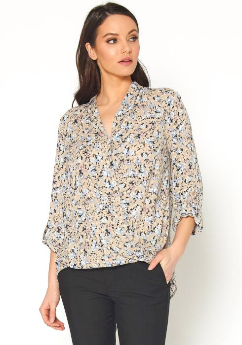Pleione Womens Multi Print V Neck Dobby Blouse