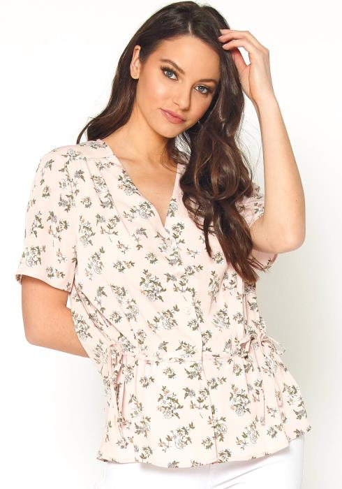 PLEIONE Womens V Neck Floral Print Top