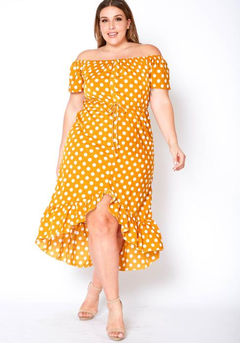 Asoph Plus Size Off The Shoulder Polka Dot Midi Dress