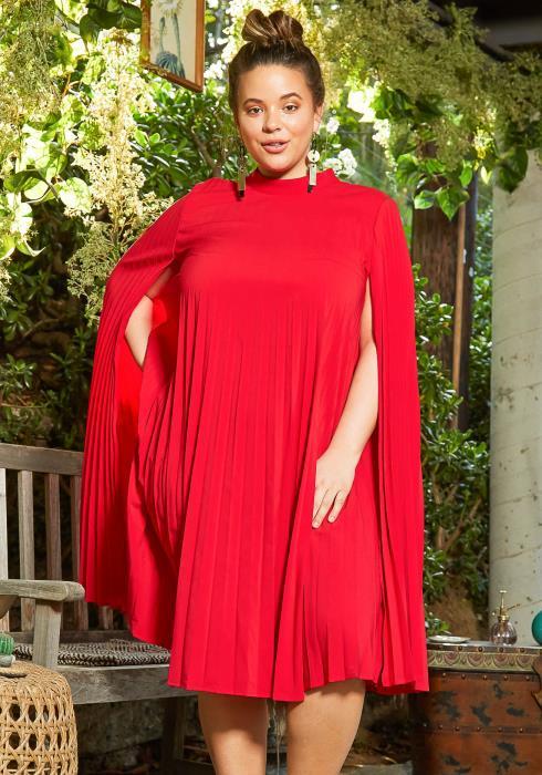 Asoph Plus Size Full Pleated Romantic Cape Midi Dress