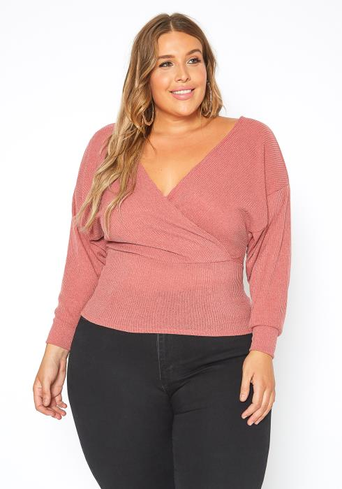 Asoph Plus Size Ribbed Knit V Neck Sweater Top
