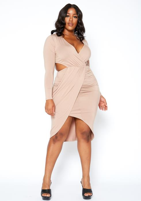 Asoph Plus Size Taupe Waist Cut Out V Neck Maxi Dress