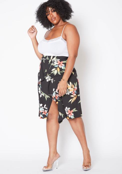 Asoph Plus Size Floral Paradise Leg Slit Midi Skirt