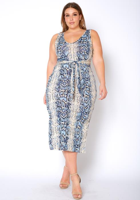 Asoph Plus Size Blue Snakeskin Sleeveless Midi Dress