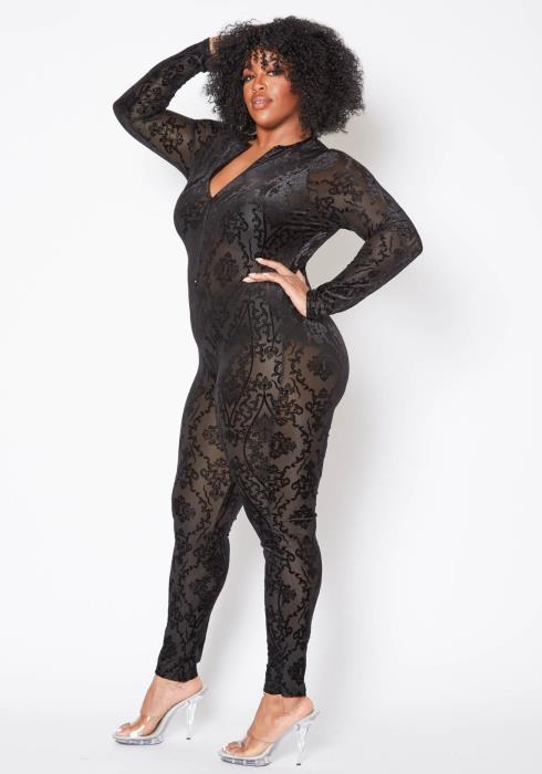 Asoph Plus Size Womens Renaissance Patterned Mesh Jumpsuit
