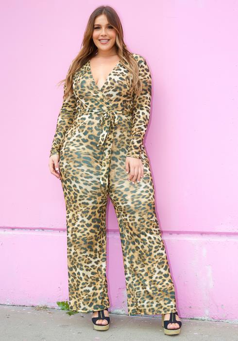 Asoph Plus Size Size Shimmering Leopard Print Jumpsuit