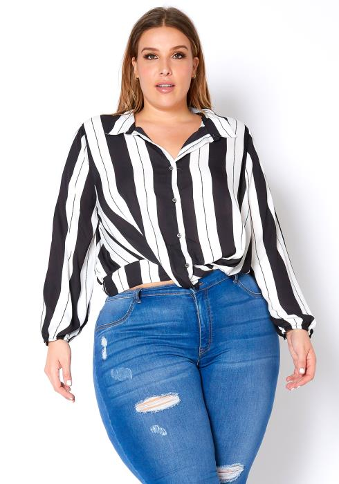 Asoph Plus Size Multi Striped Womens Collar Blouse