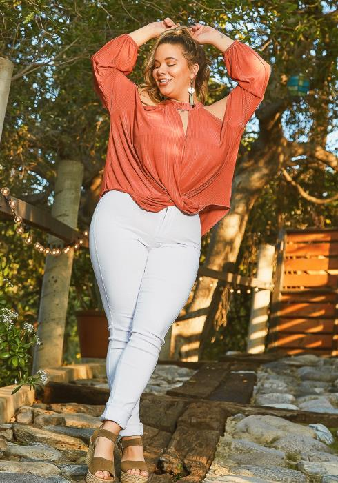 Asoph Plus Size Cold Shoulder Long Sleeve Chiffon Blouse