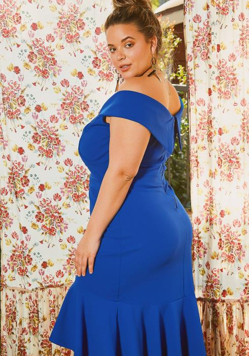Asoph Plus Size Royal Blue High Low Mermaid End Party Dress
