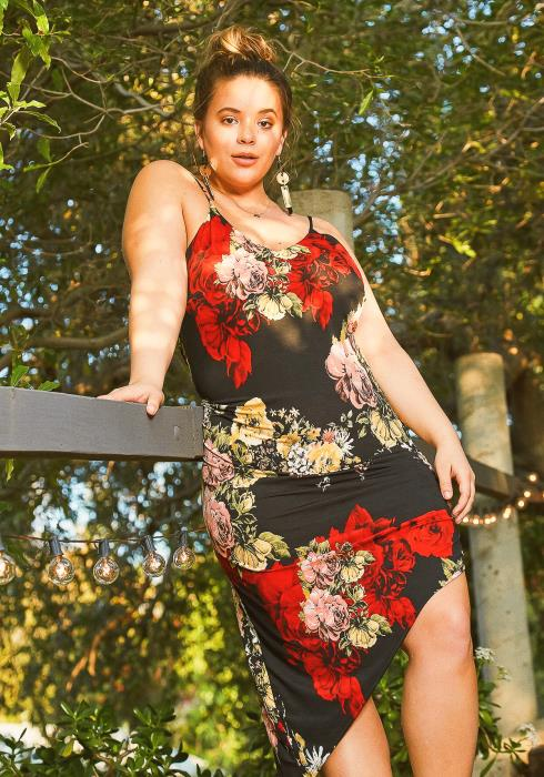 Asoph Plus Size Sweet Gardenia Print Cami Bodycon Dress
