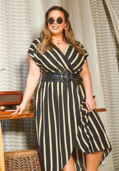 Asoph Plus Size Yellow Striped Sleeveless Dress With Belt
