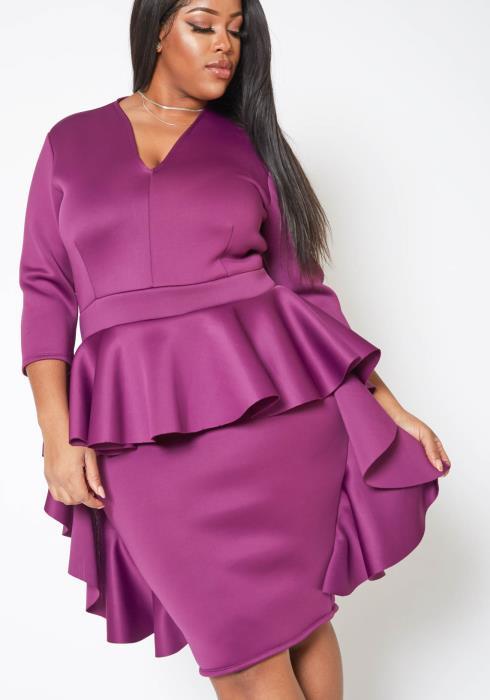 Asoph Plus Size Ruffle Flare Designed Party Dress