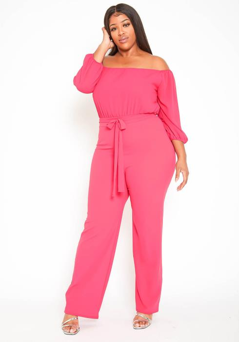 Asoph Plus Size Off Shoulder Elegant Straight Jumpsuit