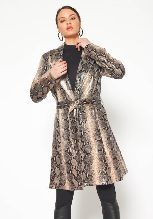 Pleione PU Leather Snakeskin Notch Collar Coat