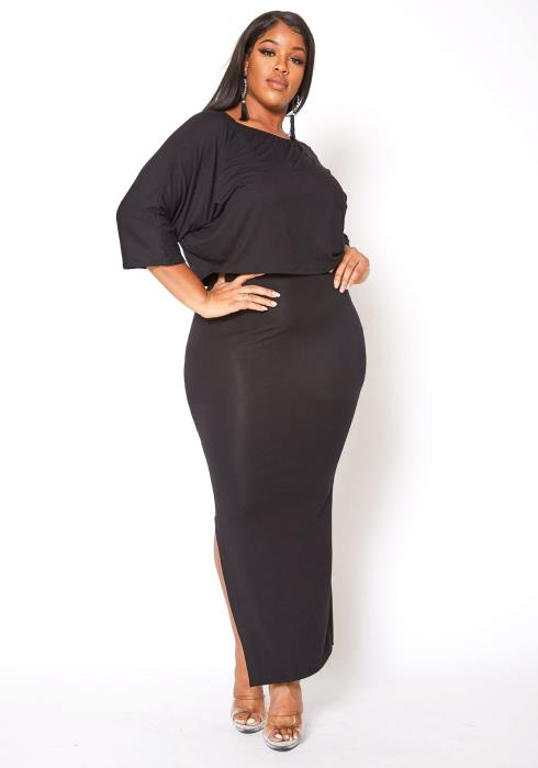 Asoph Plus Size Tank Bodycon Maxi Dress & Crop Tee Shirt Set