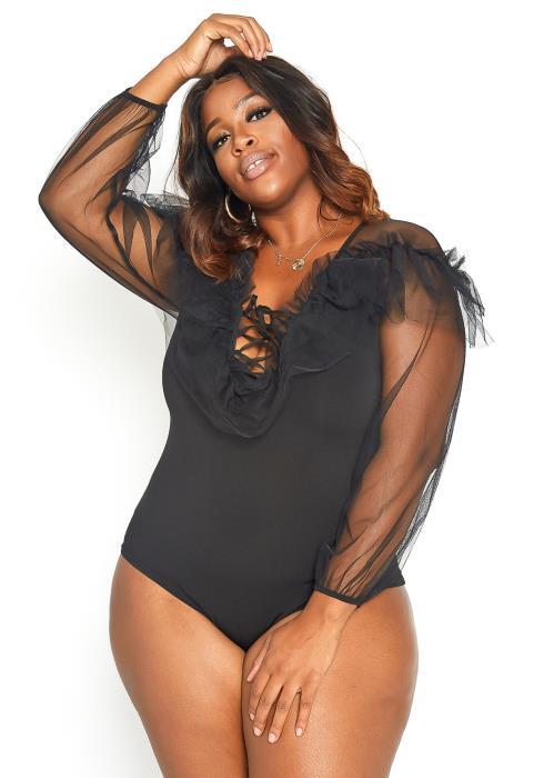Asoph Plus Size White Mesh Cross Lace Bodysuit
