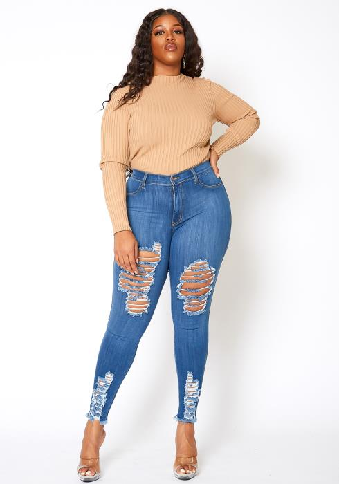 Vibrant Plus Size Distressed Hem Jean