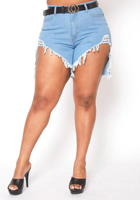 Vibrant Plus Size High Waisted Destroyed Denim Shorts