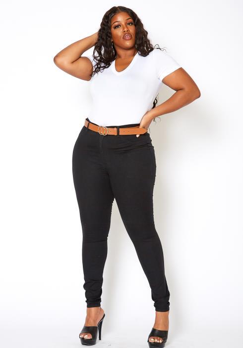 Asoph Plus Size Classic Black Denim Skinny Jean