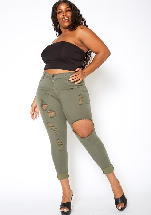 Vibrant Plus Size Womens Mid Rise Front Distressed Skinny Jeans