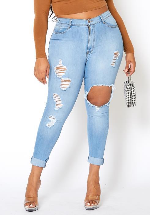 Vibrant Plus Size Womens Light Wash Distressed Denim Jeans