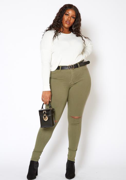 Vibrant Plus Size Classic Knee Rip Skinny Jeans